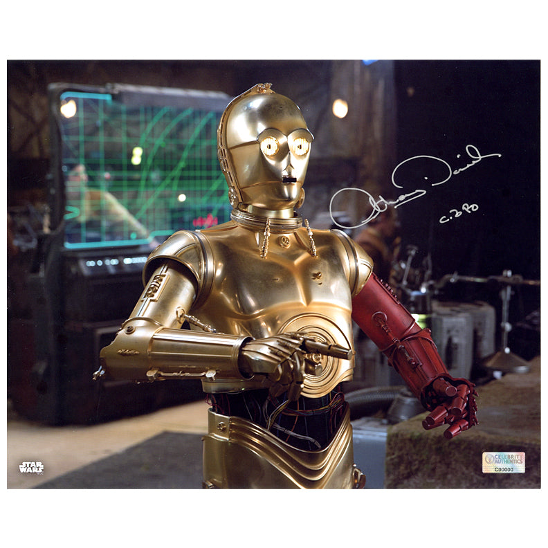 Anthony Daniels Autographed Star Wars: The Force Awakens C-3PO D'Qar Rebel Base 8×10 Photo