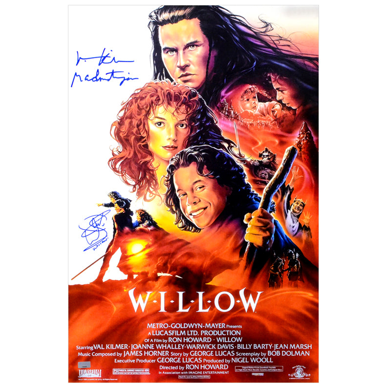 Val Kilmer, Warwick Davis Autographed 1988 Willow 16x24 Movie Poster