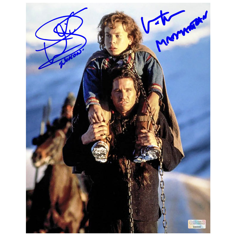 Val Kilmer, Warwick Davis Autographed Willow and Madmartigan 8×10 Scene Photo