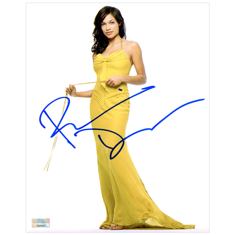 Rosario Dawson Autographed Evening Gown 8×10 Photo