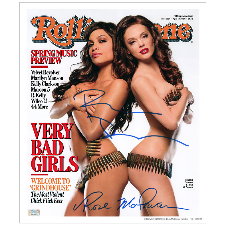 Rosario Dawson and Rose McGowan Autographed Rolling Stone Cover 11×13 Photo