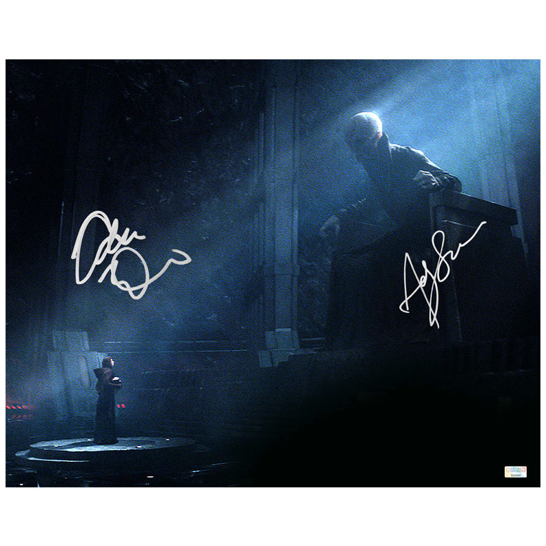 Adam Driver, Andy Serkis Autographed Star Wars: The Force Awakens Kylo Ren and Snoke 16×20 Scene Photo