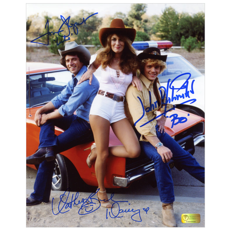 John Schneider, Tom Wopat, Catherine Bach Autographed Dukes of Hazzard 8x10 Photo