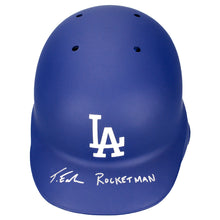 Load image into Gallery viewer, Taron Egerton Autographed LA Dodgers Rawlings Authentic On Field Batting Helmet with 'Rocketman' Inscription