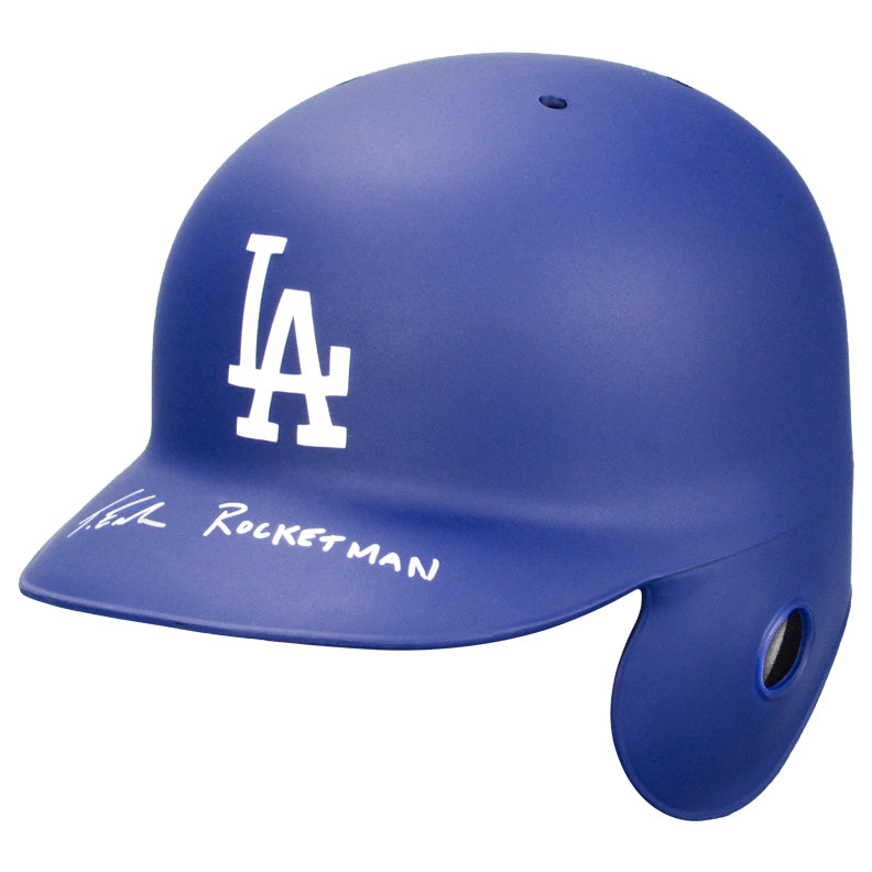 Taron Egerton Autographed LA Dodgers Rawlings Authentic On Field Batting Helmet with 'Rocketman' Inscription