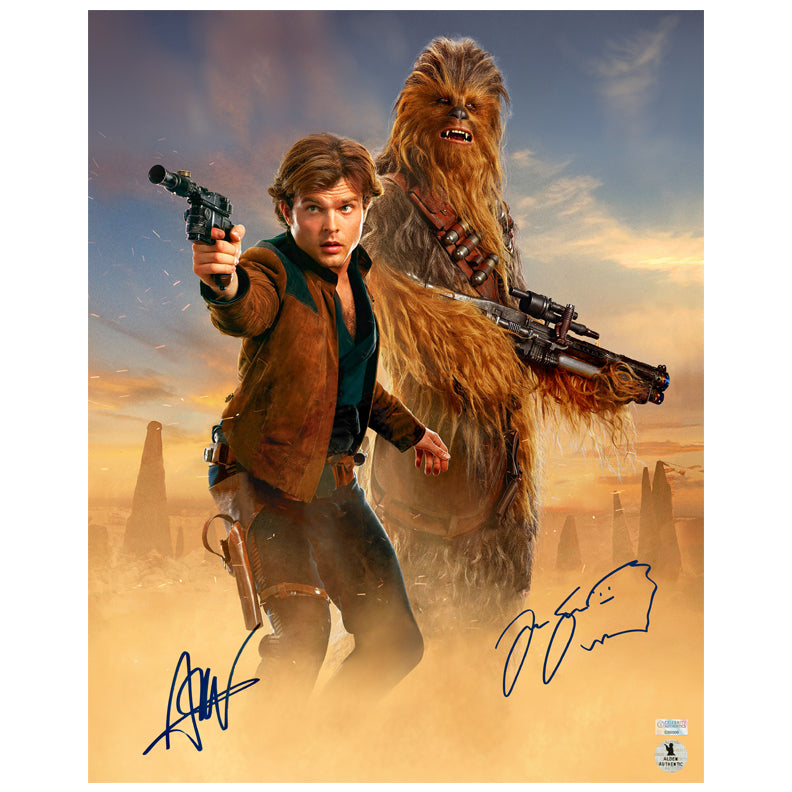 Alden Ehrenreich, Joonas Suotamo Autographed Solo A Star Wars Story Han Solo and Chewbacca 16x20 Photo