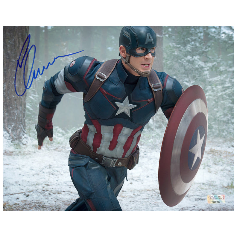 Chris Evans Autographed Avengers Age of Ultron Captain America 8x10 Photo
