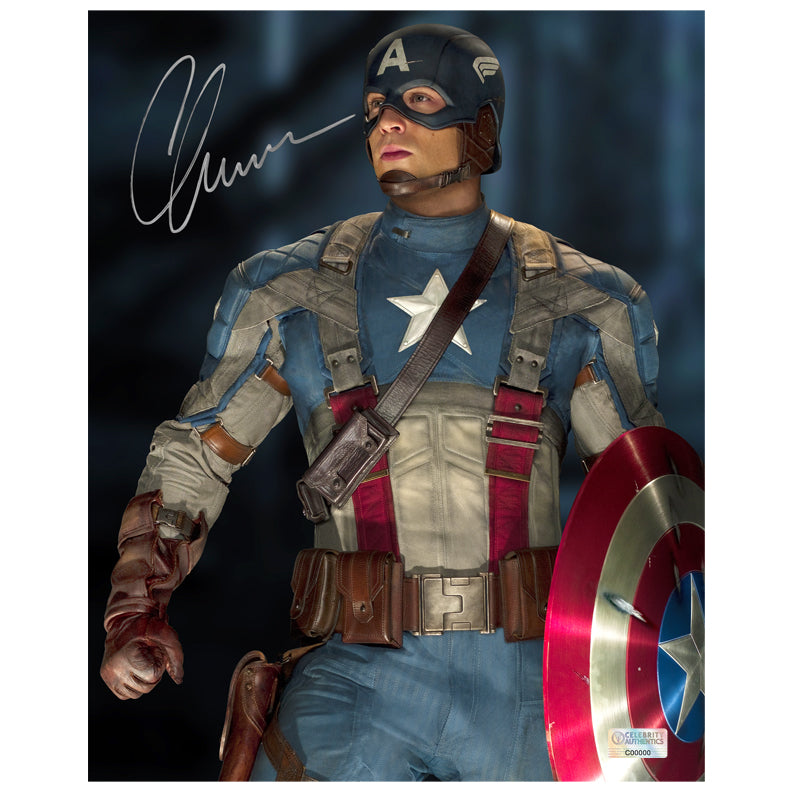 Chris Evans Autographed Captain America The First Avenger 8x10 Photo
