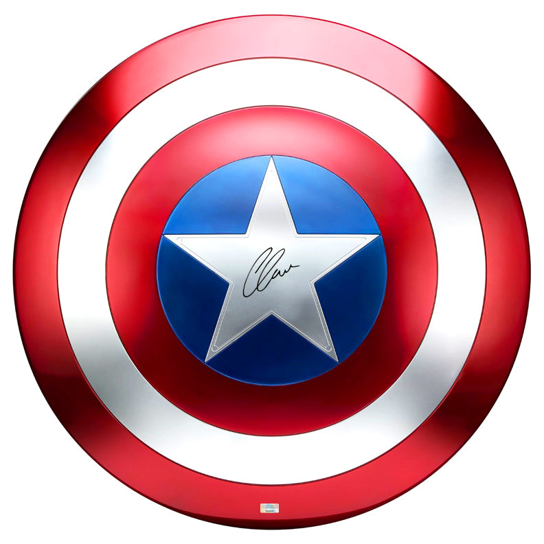 Chris Evans Autographed Marvel Legends Captain America Prop Replica 1:1 Scale Shield