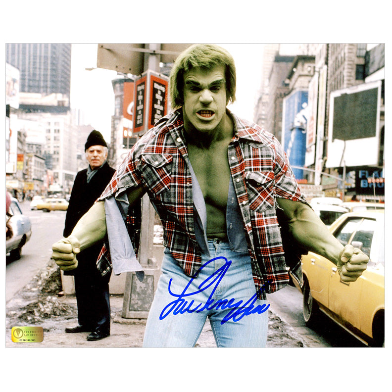 Lou Ferrigno Autographed The Incredible Hulk Times Square 8x10 Photo
