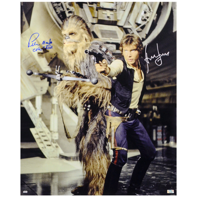 Harrison Ford, Peter Mayhew Autographed Star Wars Han Solo and Chewbacca 16x20 Photo