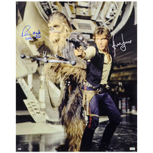 Load image into Gallery viewer, Harrison Ford, Peter Mayhew Autographed Han Solo and Chewbacca 16x20 Photo