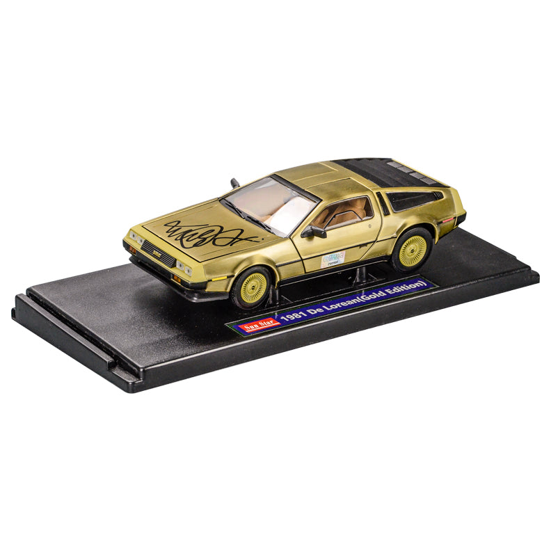 Michael J. Fox Autographed Back to the Future 1:18 Scale Die-Cast Gold DeLorean