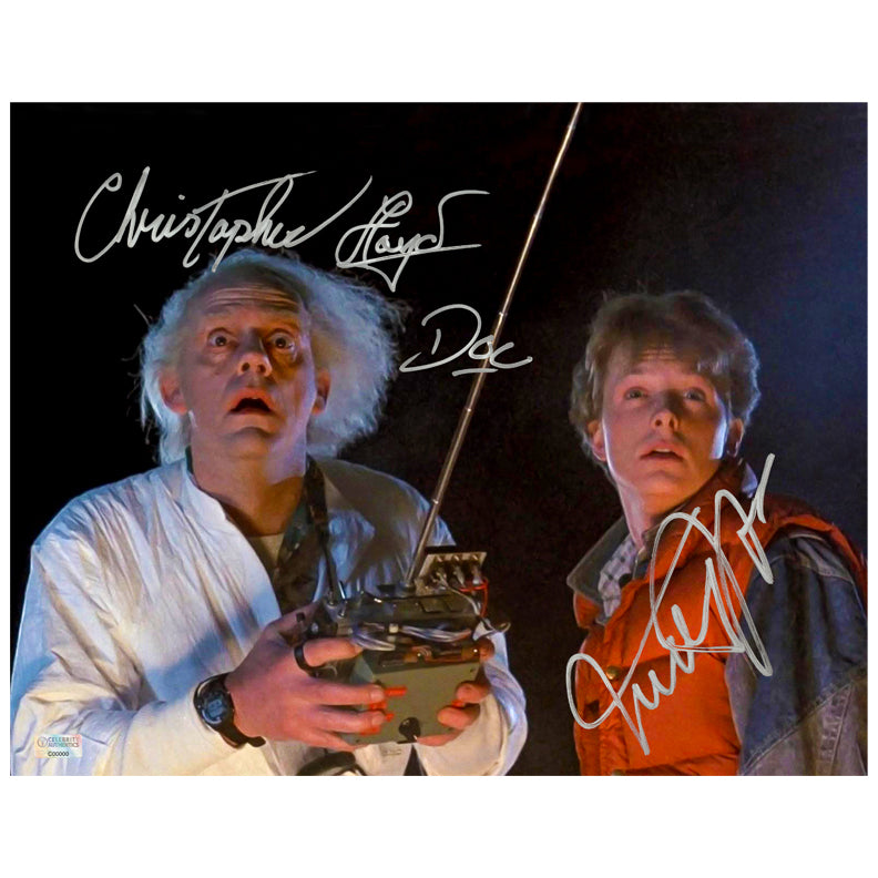 Michael J. Fox, Christopher Lloyd Autographed Back to the Future Marty McFly, Doc Brown Controls 11x14 Photo
