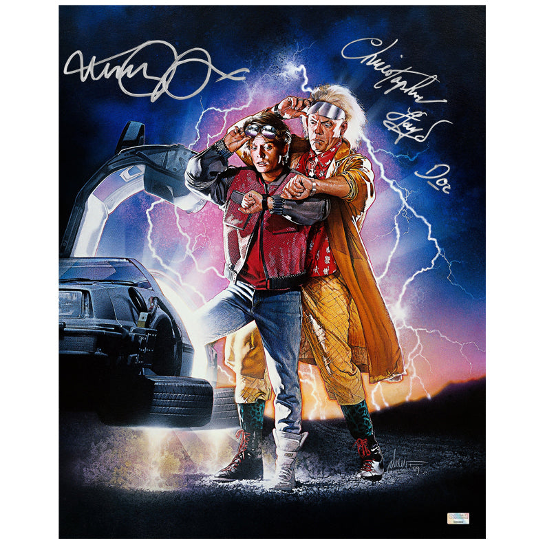 Michael J. Fox, Christopher Lloyd Autographed Back to the Future II Marty McFly, Doc Brown 16x20 Poster Art