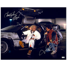 Load image into Gallery viewer, Michael J. Fox, Christopher Lloyd Autographed Back to the Future Marty McFly, Doc Brown DeLorean 16x20 Photo