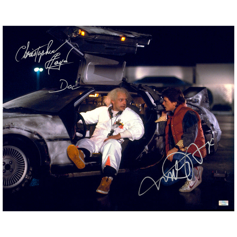 Michael J. Fox, Christopher Lloyd Autographed Back to the Future Marty McFly, Doc Brown DeLorean 16x20 Photo