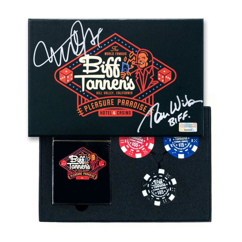 Michael J. Fox, Tom Wilson Autographed Back to the Future Biff Tannen's Pleasure Paradise Hotel & Casino Game Set