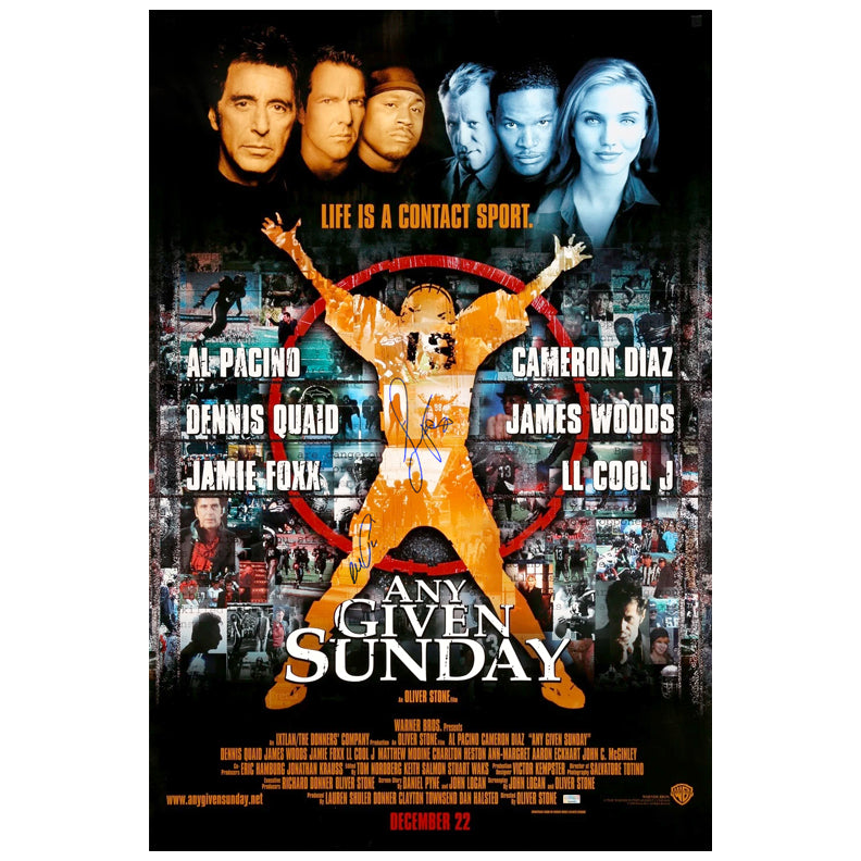 Al Pacino, Jamie Foxx Autographed Any Given Sunday 27x40 Double Sided Original Movie Poster