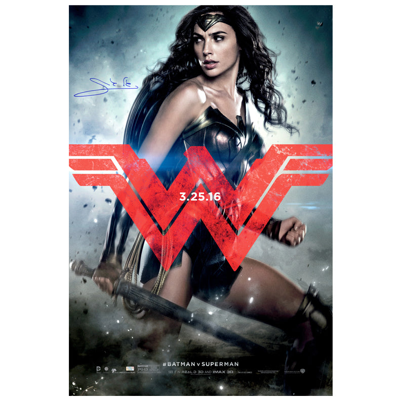 Gal Gadot Autographed Batman vs Superman Wonder Woman Original Double-Sided 27×40 Movie Poster