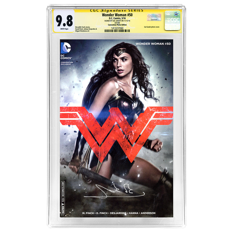 Gal Gadot Autographed Wonder Woman #50 CGC SS 9.8 with Photo Variant Cover