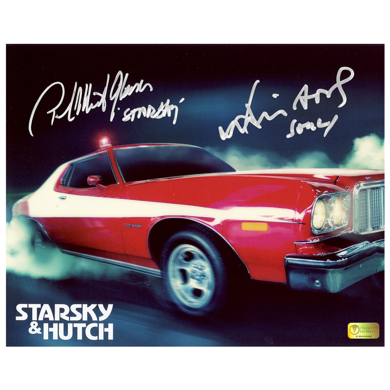 David Soul and Paul Michael Glaser Autographed Starsky and Hutch Torino 8x10 Photo