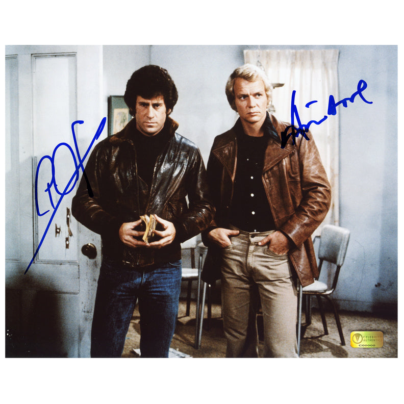David Soul and Paul Michael Glaser Autographed Starsky and Hutch 8x10 Scene Photo