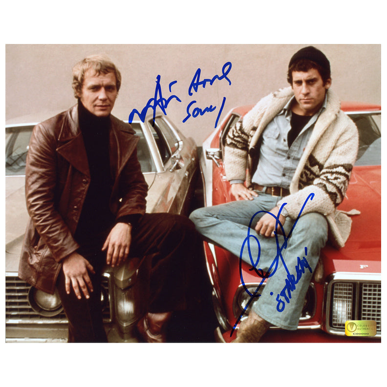 David Soul and Paul Michael Glaser Autographed Starsky and Hutch Car 8x10 Photo