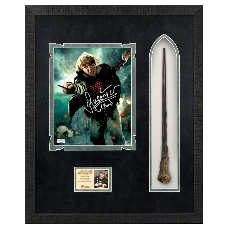 Rupert Grint Autographed Harry Potter Ron Weasley 8×10 Photo With Wand Framed Display