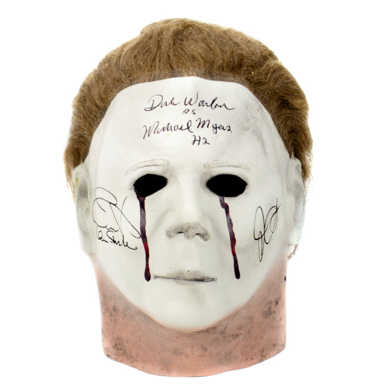 Jamie Lee Curtis, John Carpenter and Dick Warlock Autographed Halloween II Michael Myers Mask
