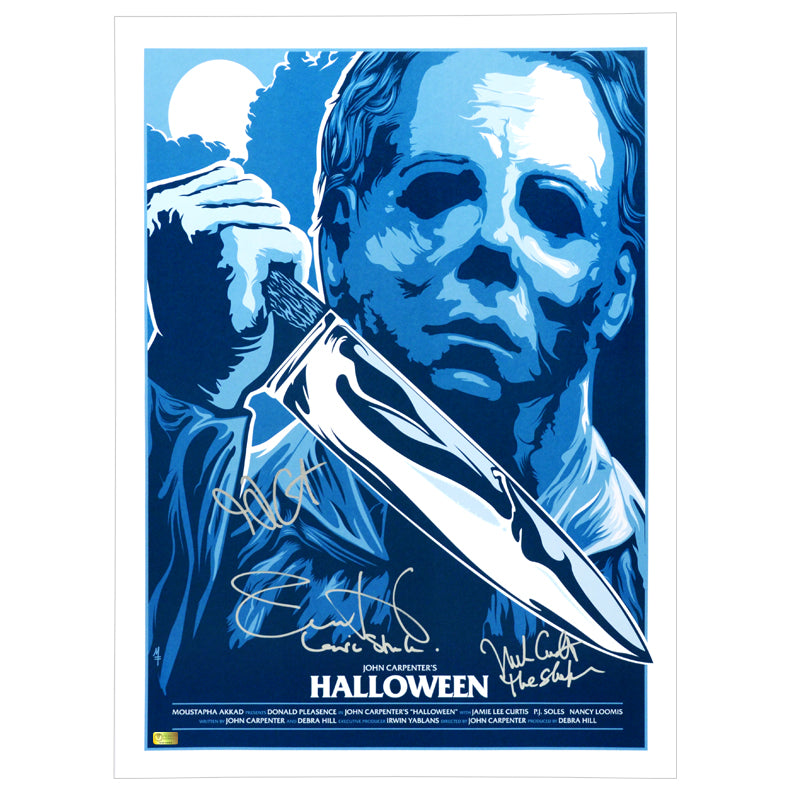 Jamie Lee Curtis, Nick Castle, John Carpenter Autographed Halloween Silver Screen Edition 18x24 Print