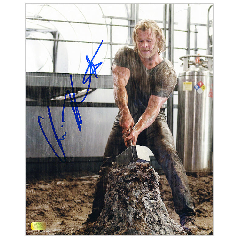 Chris Hemsworth Autographed Thor Mjolnir Hammer 8x10 Photo