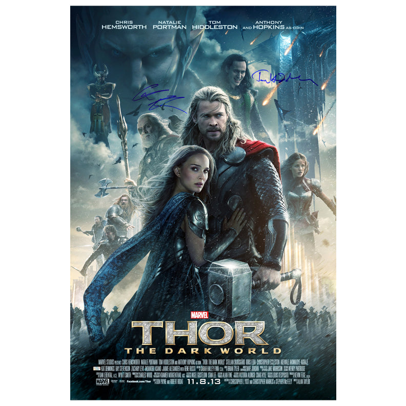 Chris Hemsworth and Tom Hiddleston Autographed Thor: The Dark World 27x40 Original Poster