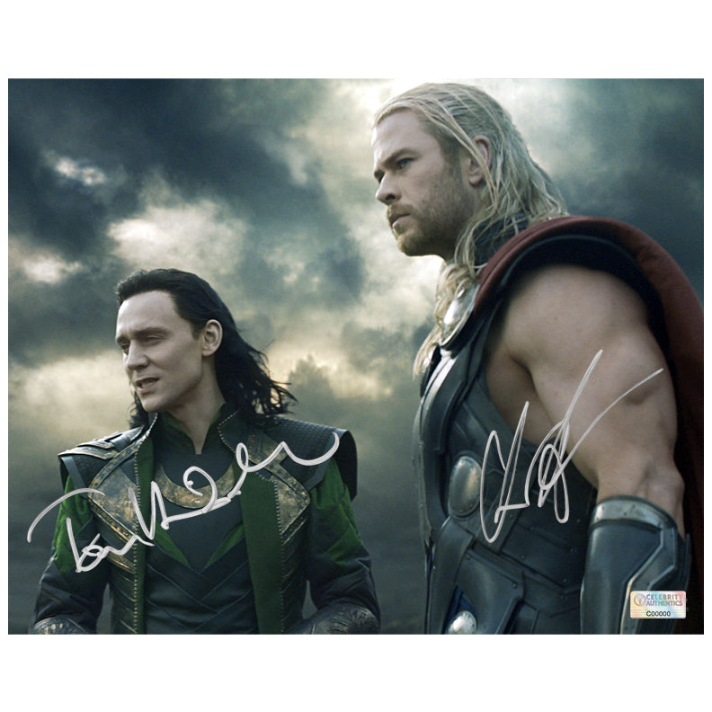 Chris Hemsworth and Tom Hiddleston Autographed Thor: The Dark World 8x10 Photo