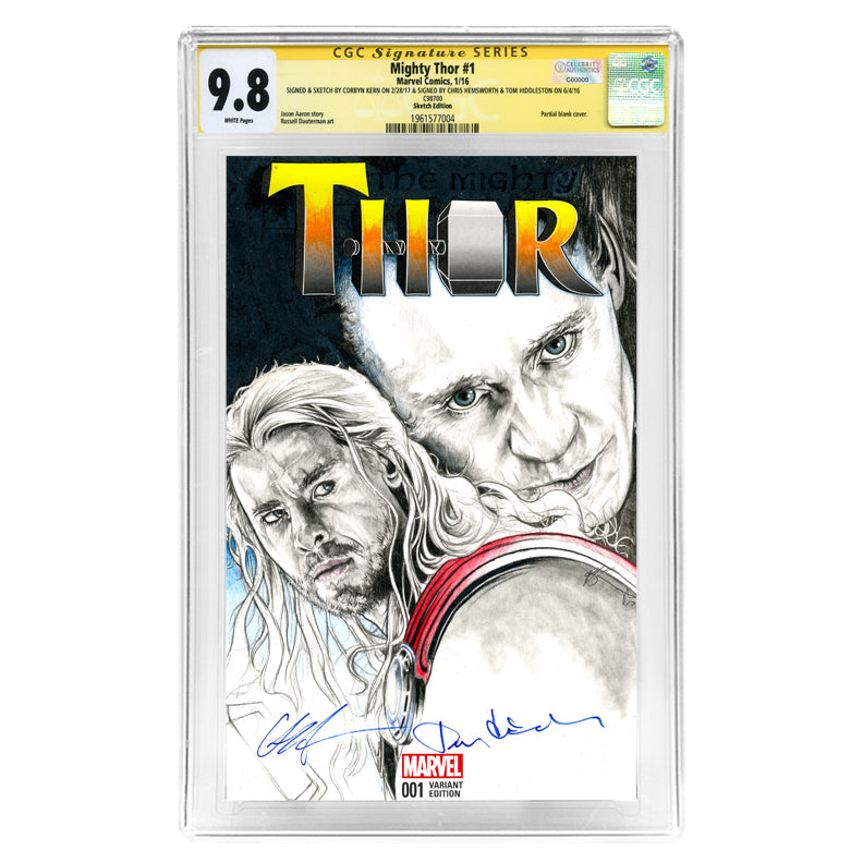 Chris Hemsworth, Tom Hiddleston Autographed Mighty Thor #1 CGC SS 9.8 Sketch Variant Cover