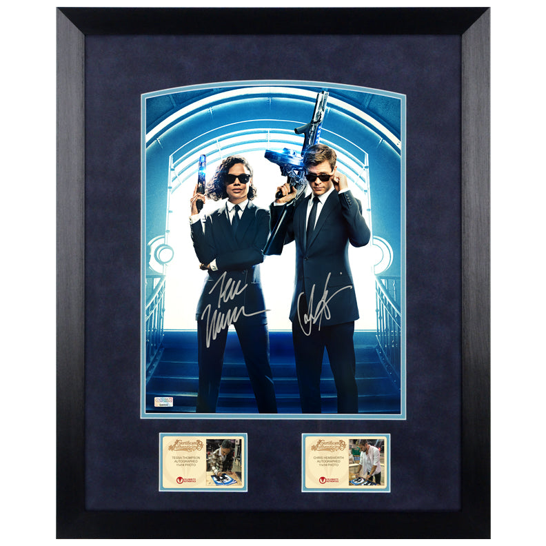 Tessa Thompson, Chris Hemsworth Autographed Men in Black: International Agent H and M 11x14 Framed Photo