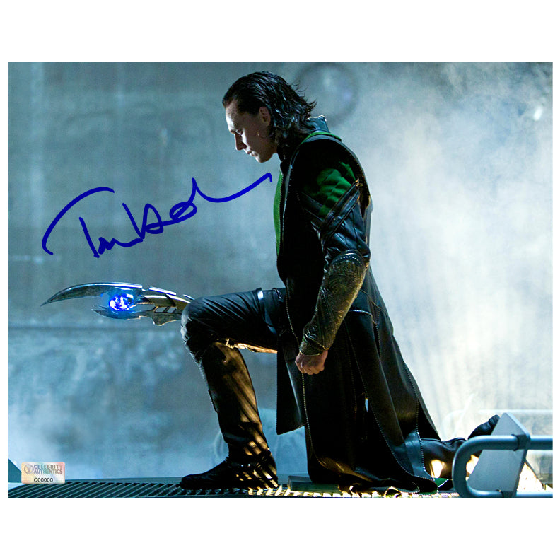 Tom Hiddleston Autographed The Avengers Loki with Scepter 8x10 Photo