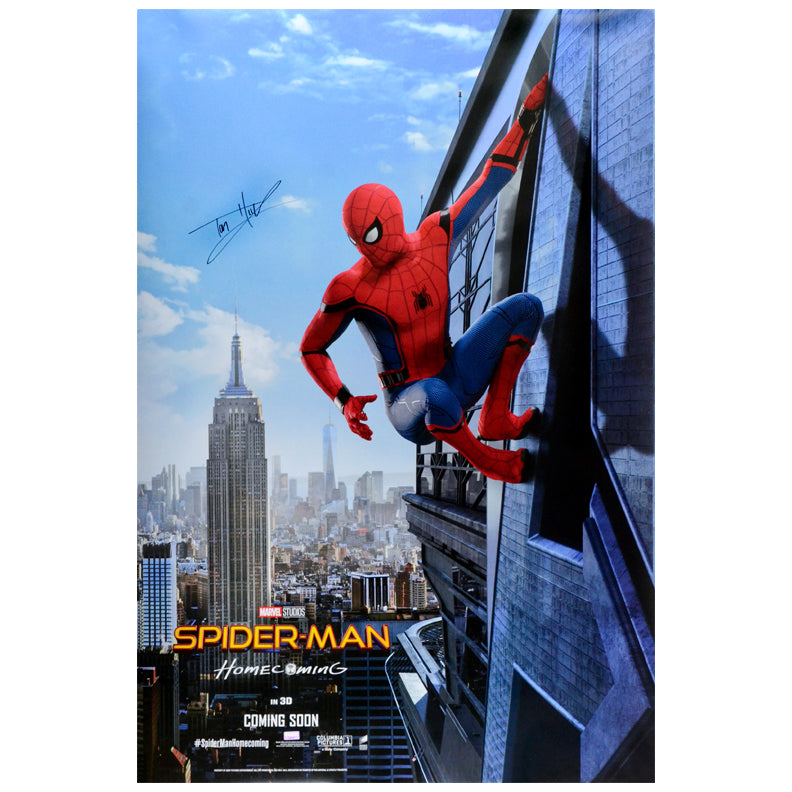 Tom Holland Autographed 2017 Spider-Man Homecoming Original 27x40 Advance A Double-Sided Movie Poster