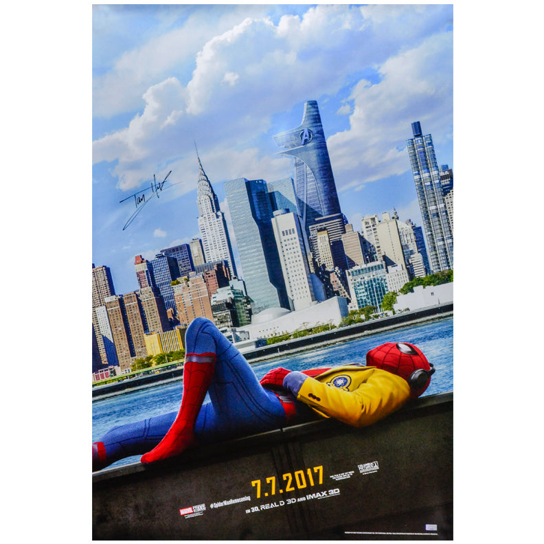 Tom Holland Autographed 2017 Spider-Man Homecoming Original 27x40 Advance B Double-Sided Movie Poster