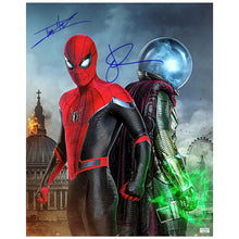 Load image into Gallery viewer, Jake Gyllenhaal, Tom Holland Autographed Spider-Man: Far From Home Spider-Man and Mysterio 16×20 Photo