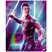Load image into Gallery viewer, Tom Holland, Stan Lee Autographed Avengers Infinity War Spider-Man 16x20 Photo
