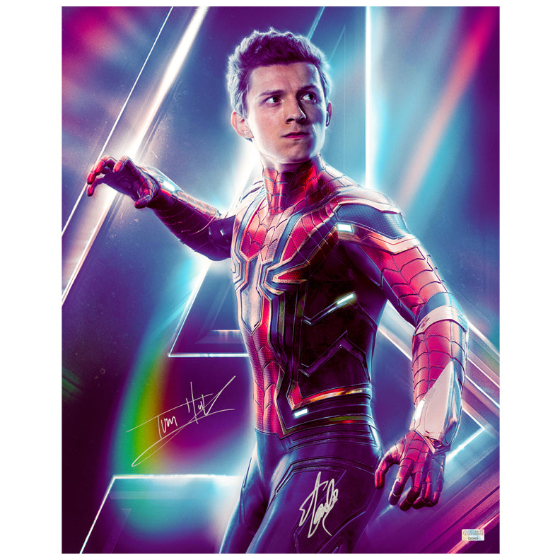 Tom Holland, Stan Lee Autographed Avengers Infinity War Spider-Man 16x20 Photo