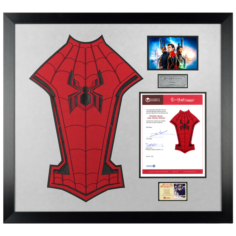 2019 Spider-Man Far From Home Production Made Spider-Man Suit Chest Glyph Panel with Tom Holland Letter of Authenticity Framed Display