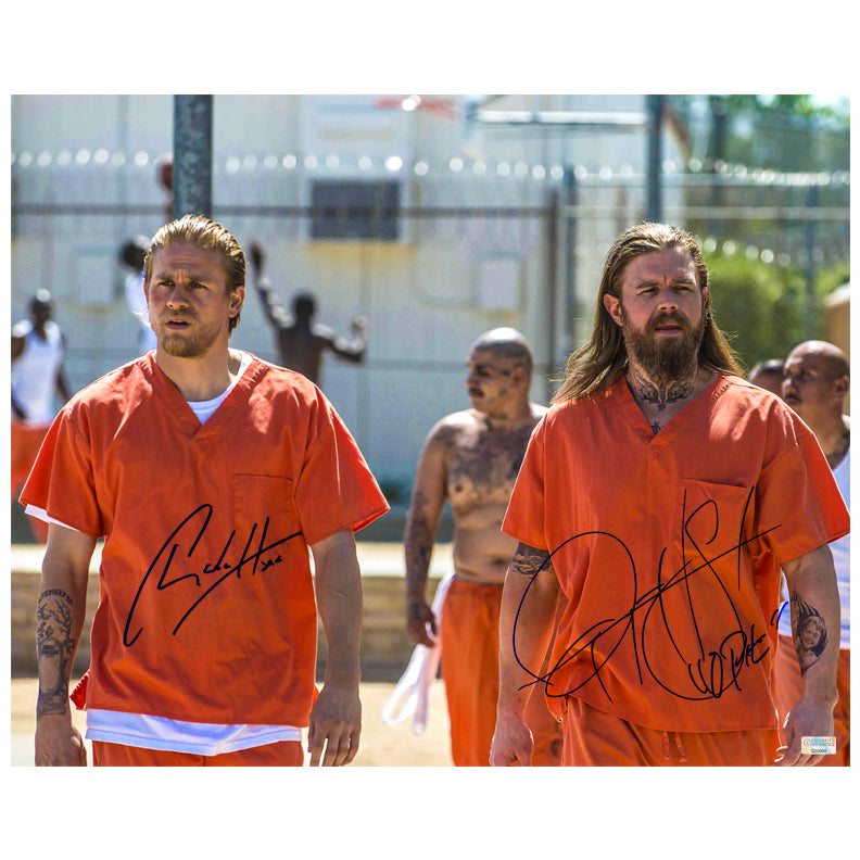 Charlie Hunnam, Ryan Hurst Autographed Sons of Anarchy Jax and Opie 16x20 Scene Photo