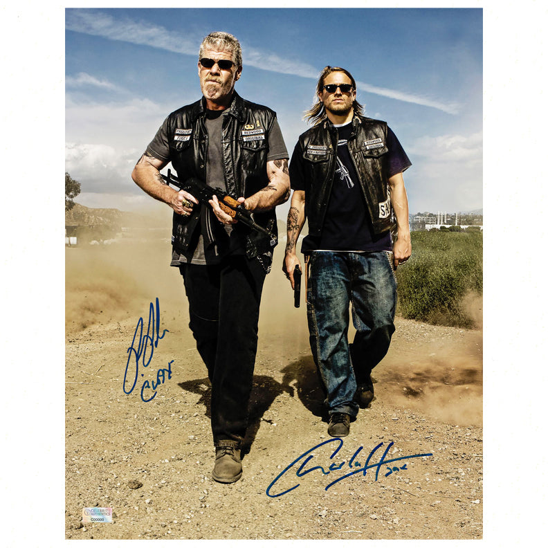 Charlie Hunnam, Ron Perlman Autographed Sons of Anarchy Men of Mayhem 11x14 Photo