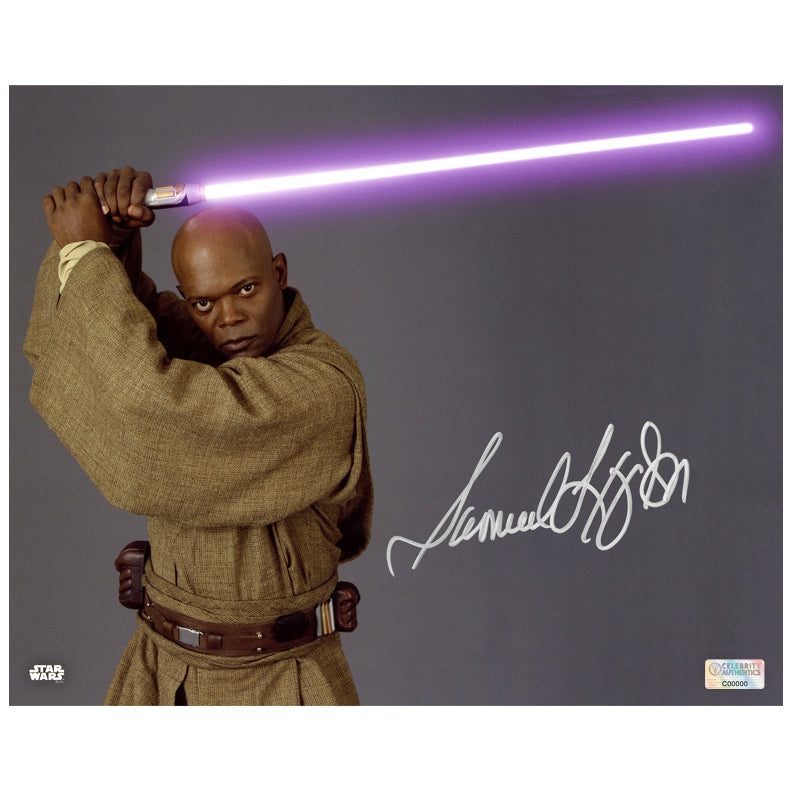 Samuel L. Jackson Autographed Star Wars Mace Windu 8x10 Close Up Photo