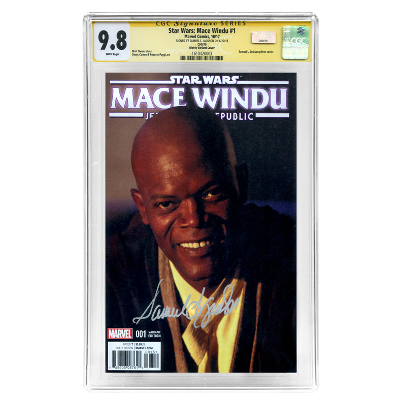 Samuel L. Jackson Autographed 2017 Mace Windu #1 CGC SS 9.8 with Movie Variant Cover
