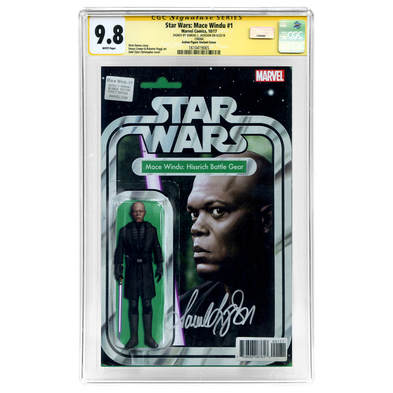 Samuel L. Jackson Autographed Star Wars Mace Windu #1 CGC SS 9.8 with Action Figure Variant Cover