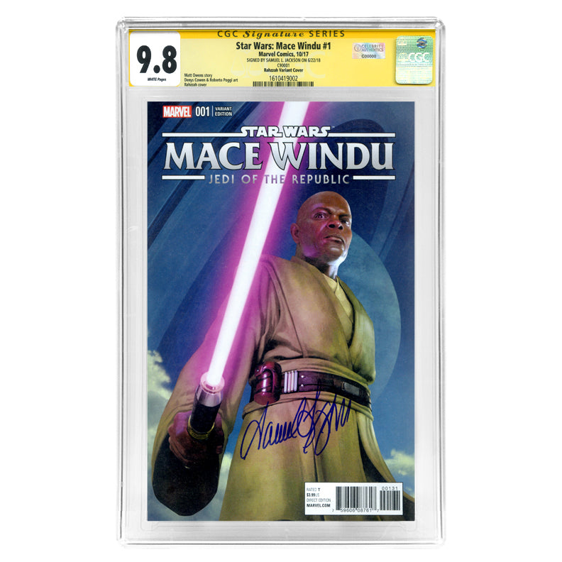 Samuel L. Jackson Autographed 2017 Mace Windu #1 with Rahzzah Photo Variant Cover CGC SS 9.8
