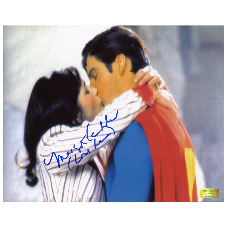 Margot Kidder Autographed Superman II Superman and Lois Lane Kiss 8×10 Photo